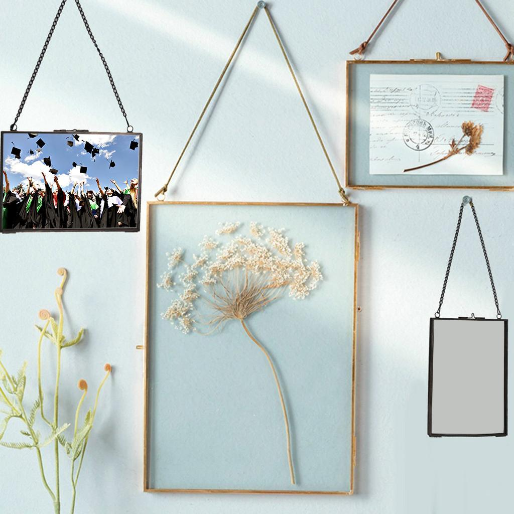 2-side Hanging Glass Photo Picture Frame Plant Dried Flower Display Holder