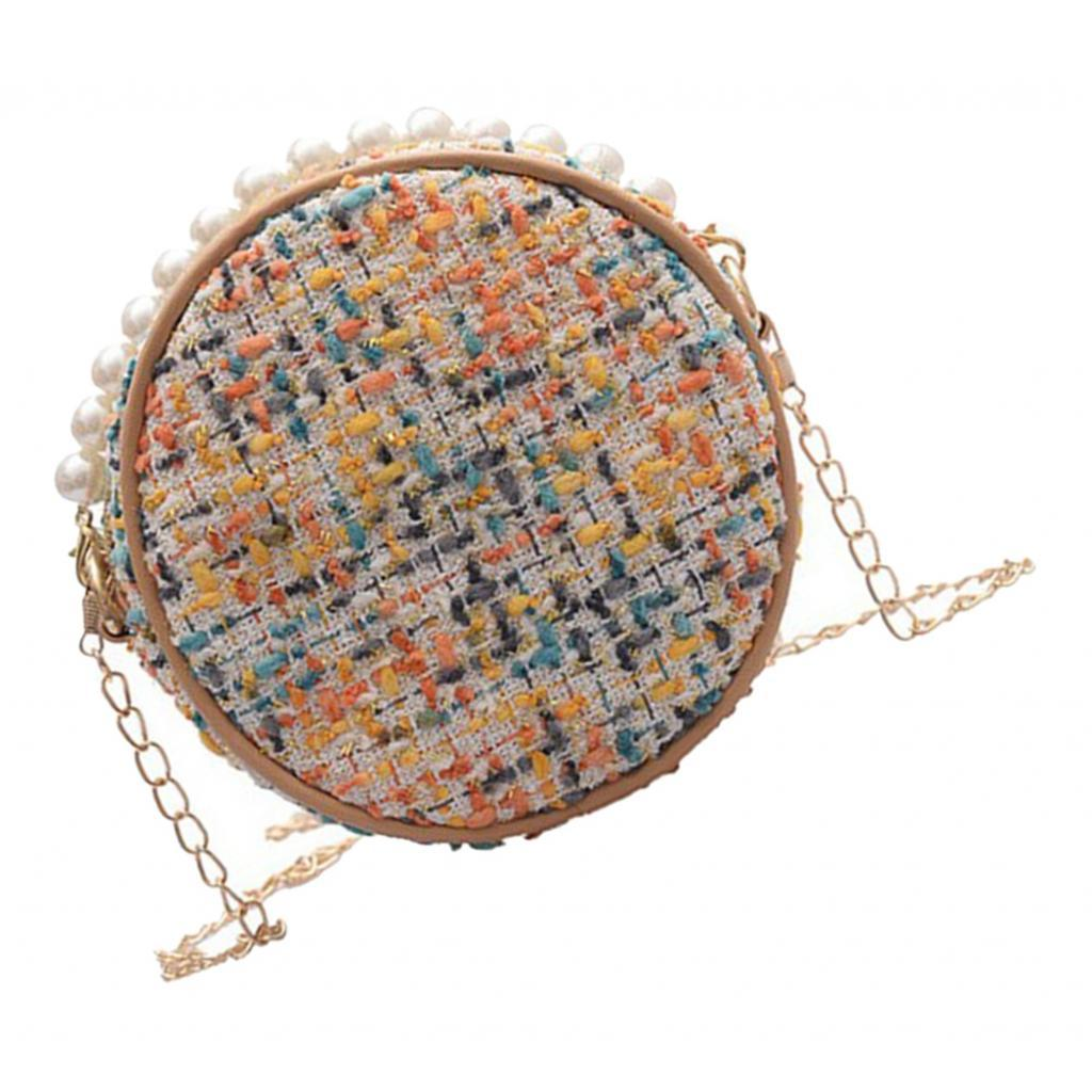 Damen-Runde-Umhaengetasche-kleine-Schultertasche-Handtasche-Crossbody-Herbst Indexbild 10