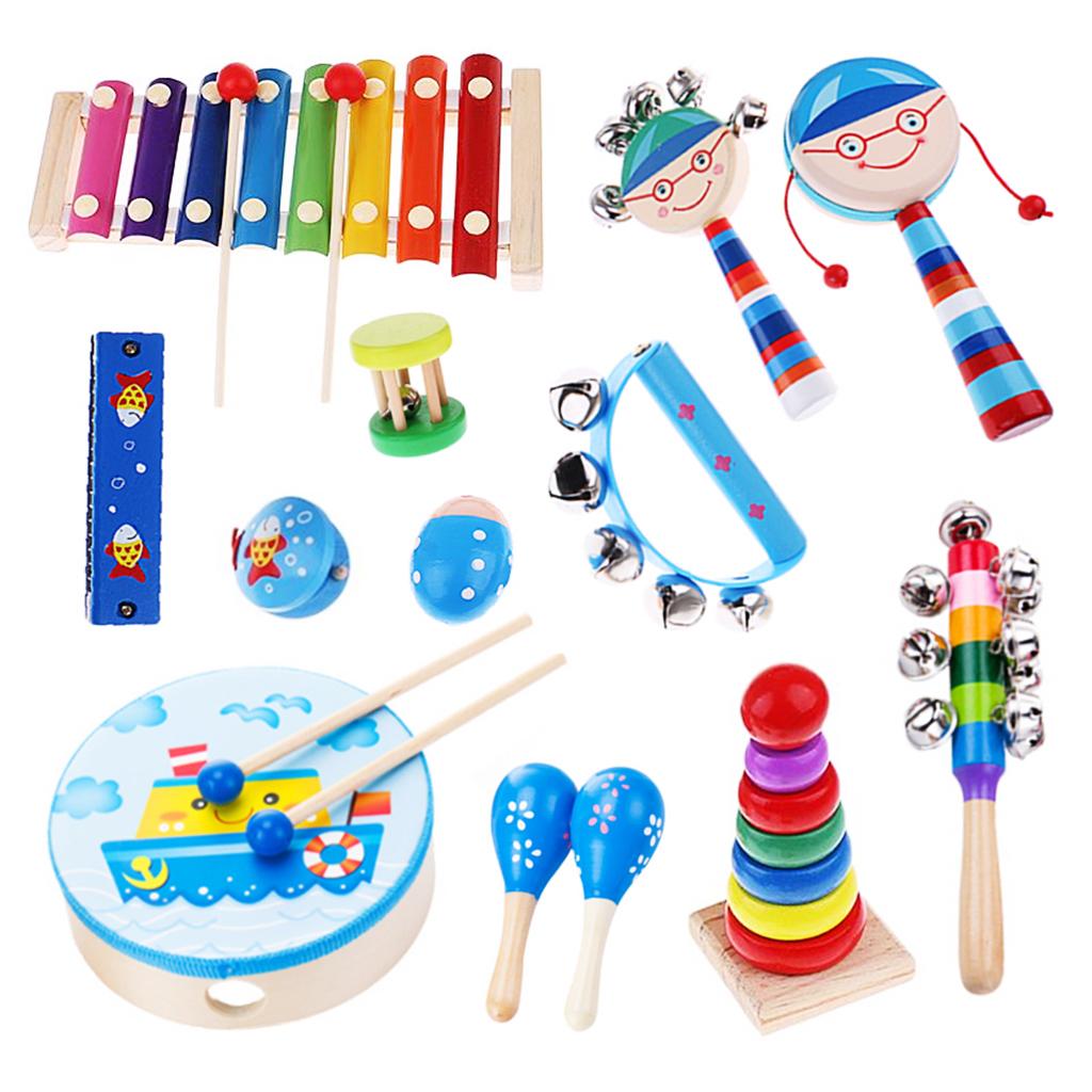 Holz-Kinder-Jungen-Maedchen-Percussion-Musikmacher-Set-Musikinstrumente-Musical Indexbild 12