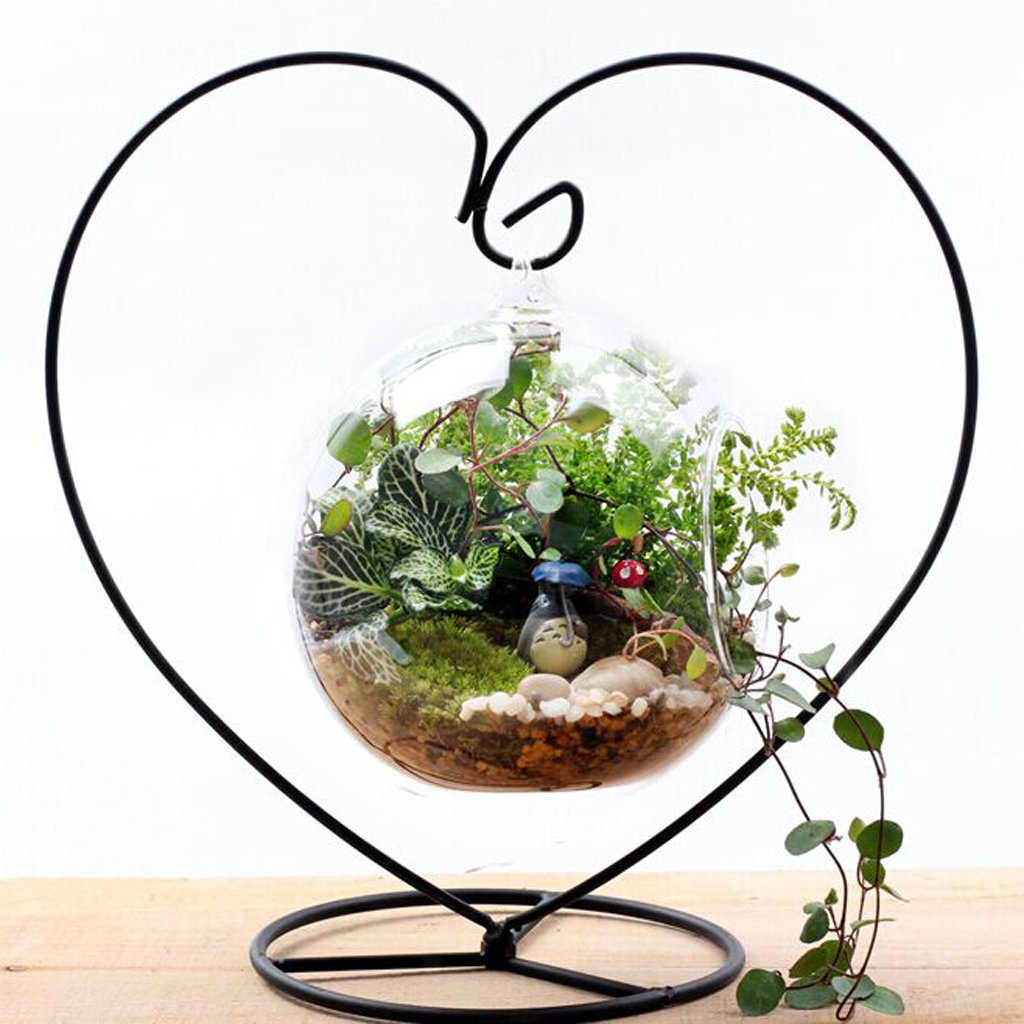 Various-Hanging-Glass-Ball-Tea-Light-Candle-Holder-Flowerpot-with-Iron-Stand thumbnail 22