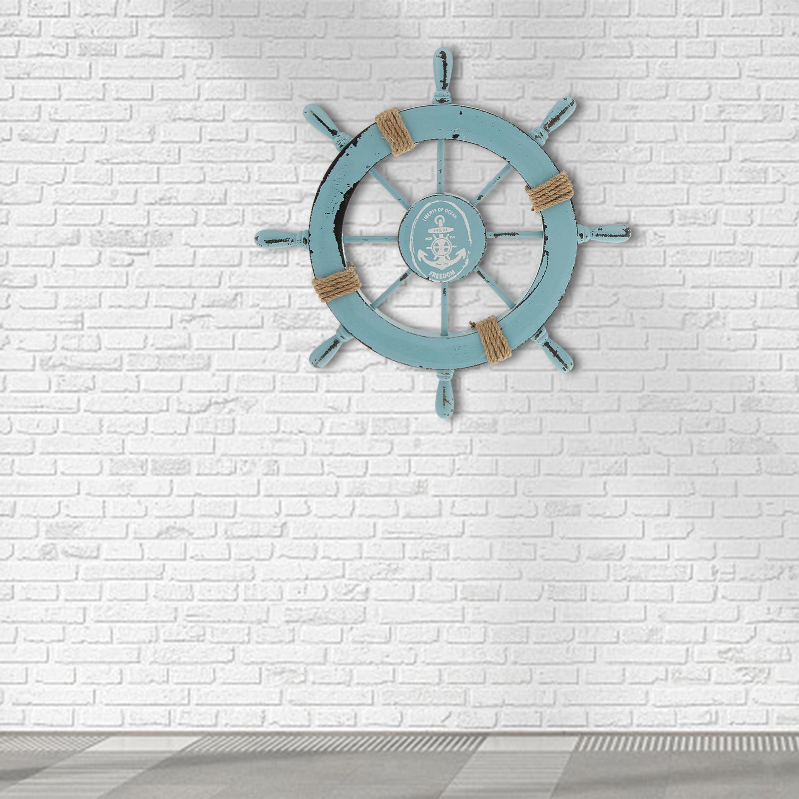 Nautical-Beach-Wooden-Boat-Ship-Wheel-Home-Bar-Wall-Party-Hanging-Decoration thumbnail 9