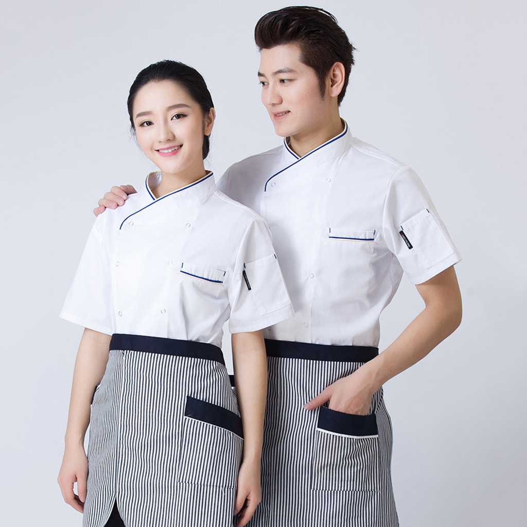 Chef Coat Jacket Men Women Kitchen Short Sleeve Cooker Work Restaurant Uniform