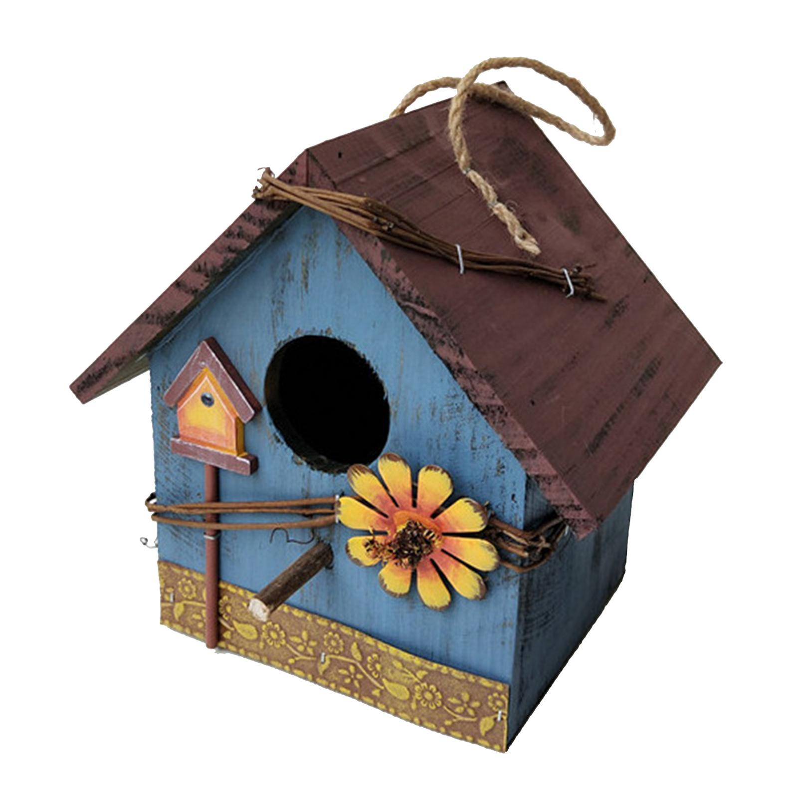 thumbnail 20 - Antique Hand Painted Wood Birdhouse Decorative Outdoor Bird House Garden
