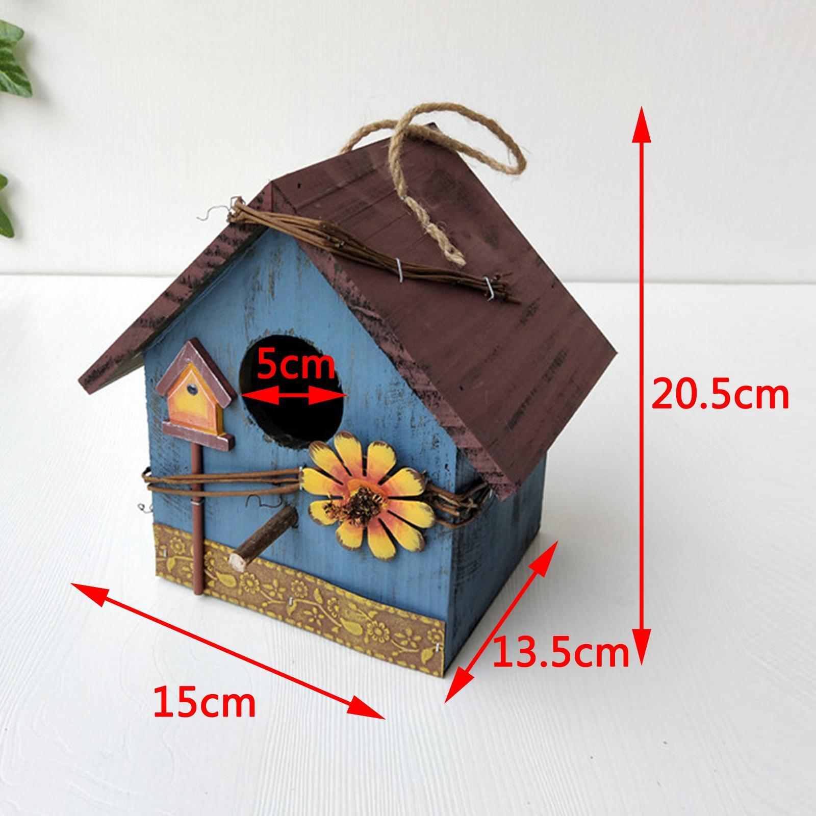 thumbnail 21 - Antique Hand Painted Wood Birdhouse Decorative Outdoor Bird House Garden