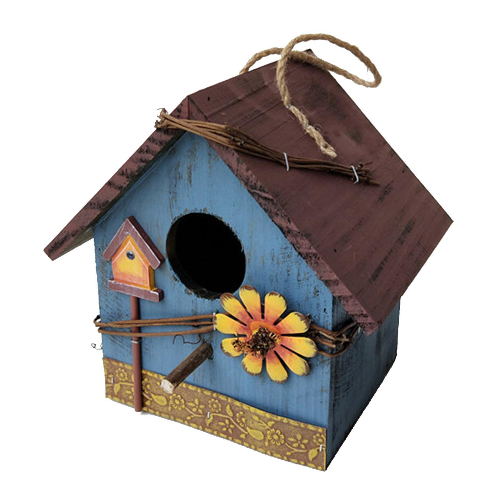thumbnail 22 - Antique Hand Painted Wood Birdhouse Decorative Outdoor Bird House Garden
