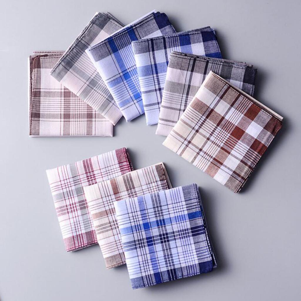 10 Pieces Mixed Handkerchiefs Plaid Hankies Pocket Square Gift Set 38x38cm