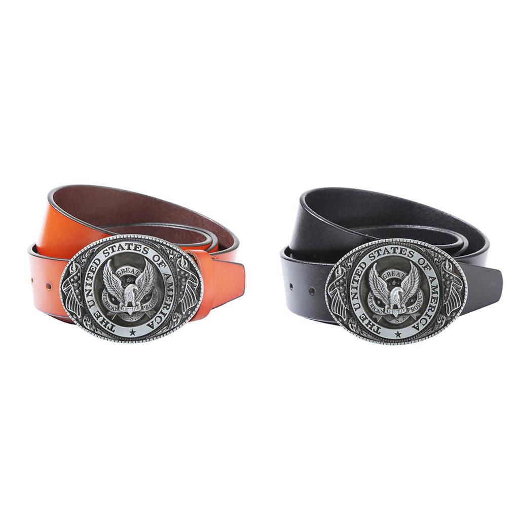Luxury Genuine Leather Belt American Eagle USA Cowboy Fashion Waist Belt