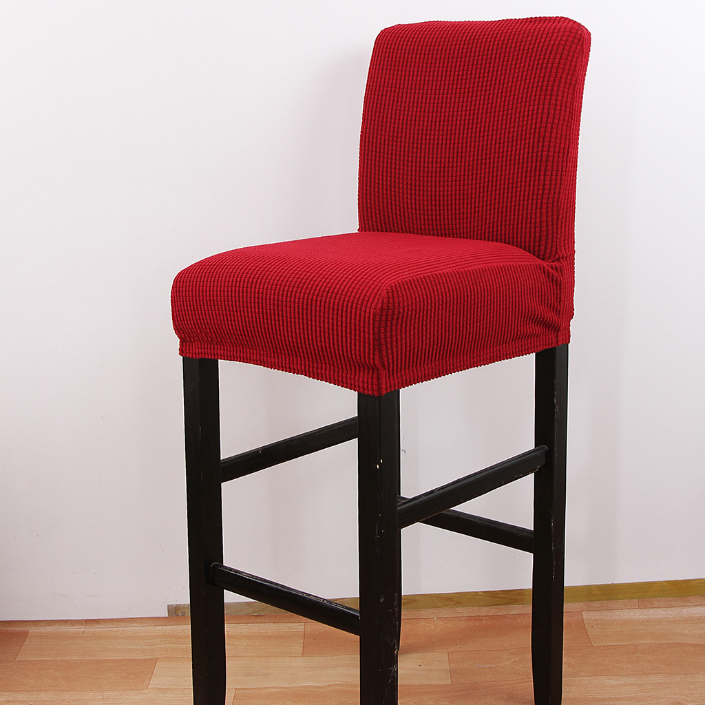 Stretch Jacquard Low Back Chair Cover Bar Counter Side Stool Slipcover Creamy