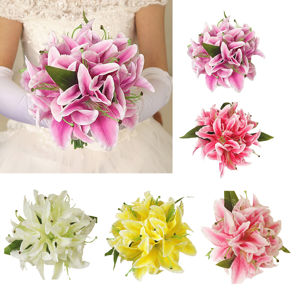 Artificial Silk Lily Home Table Vase Flower Arrangement Bridal Flower 5 Colors Ebay