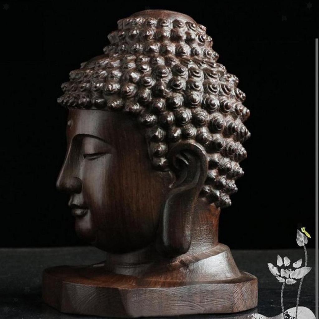 miniatura 3 - Statuetta buddista in legno Figurina India Buddha Head Statue Craft Ornament