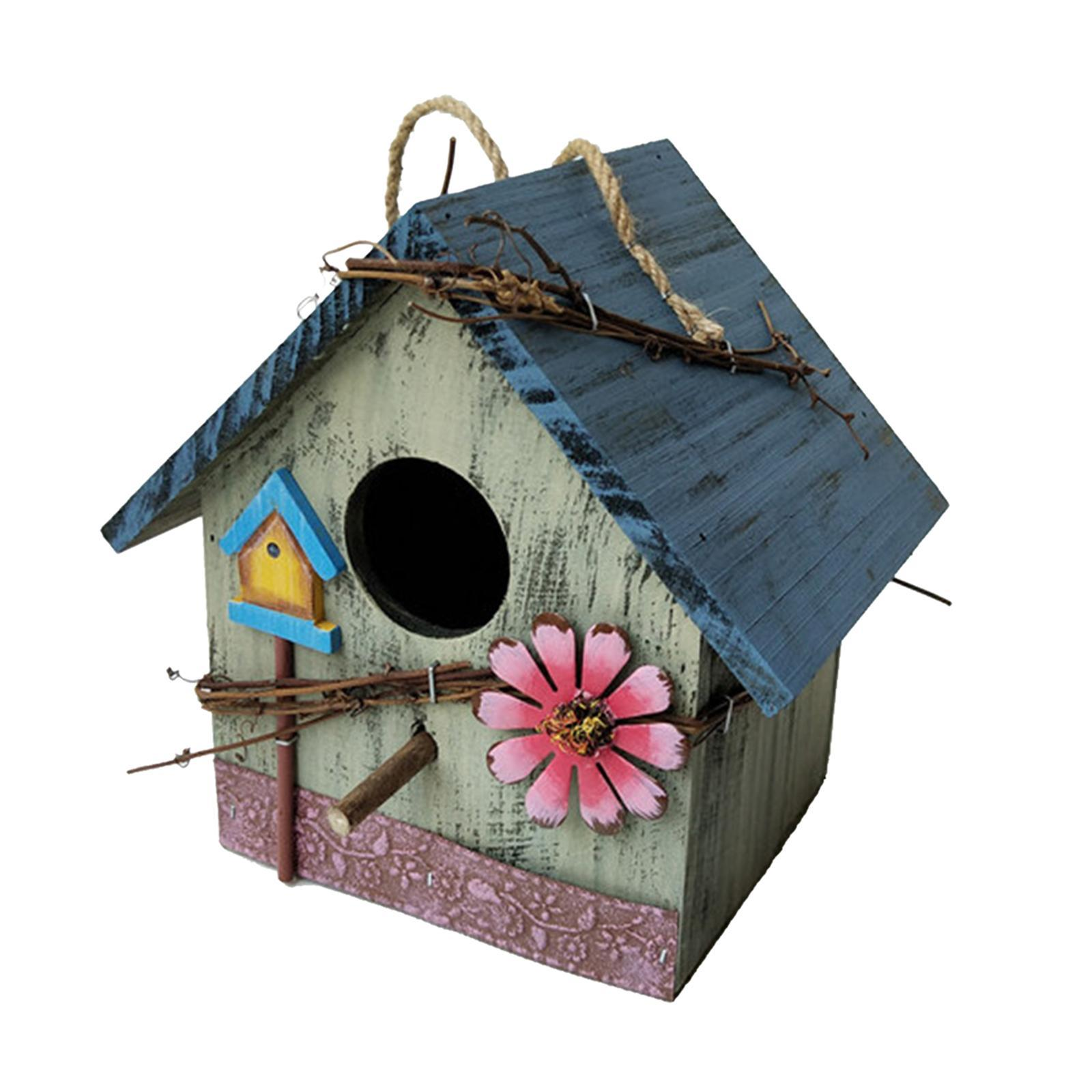 thumbnail 29 - Antique Hand Painted Wood Birdhouse Decorative Outdoor Bird House Garden