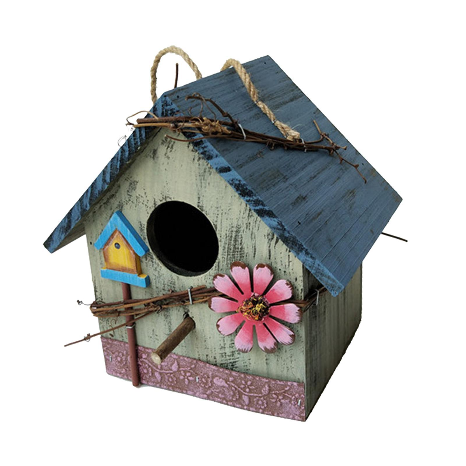 thumbnail 31 - Antique Hand Painted Wood Birdhouse Decorative Outdoor Bird House Garden
