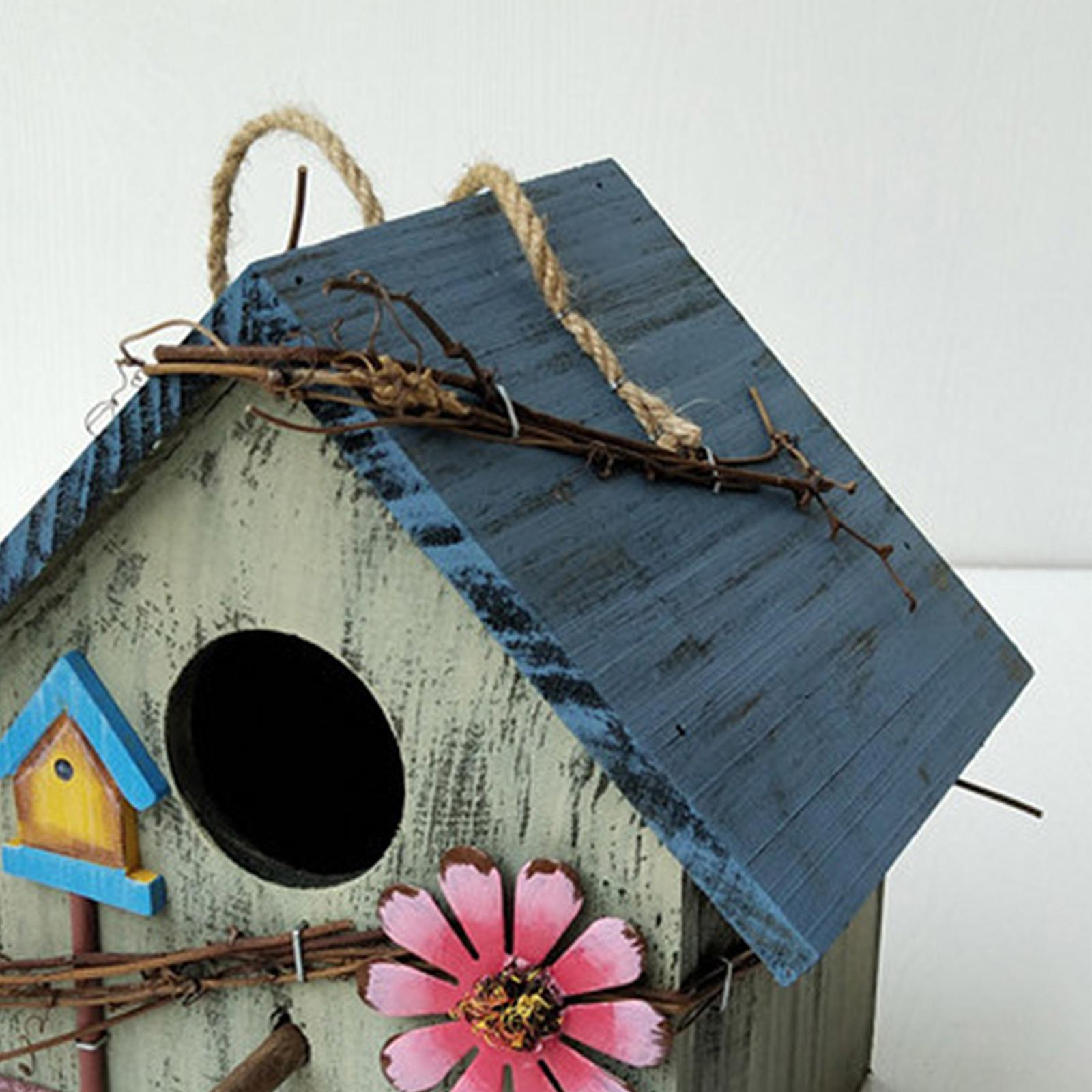 thumbnail 26 - Antique Hand Painted Wood Birdhouse Decorative Outdoor Bird House Garden