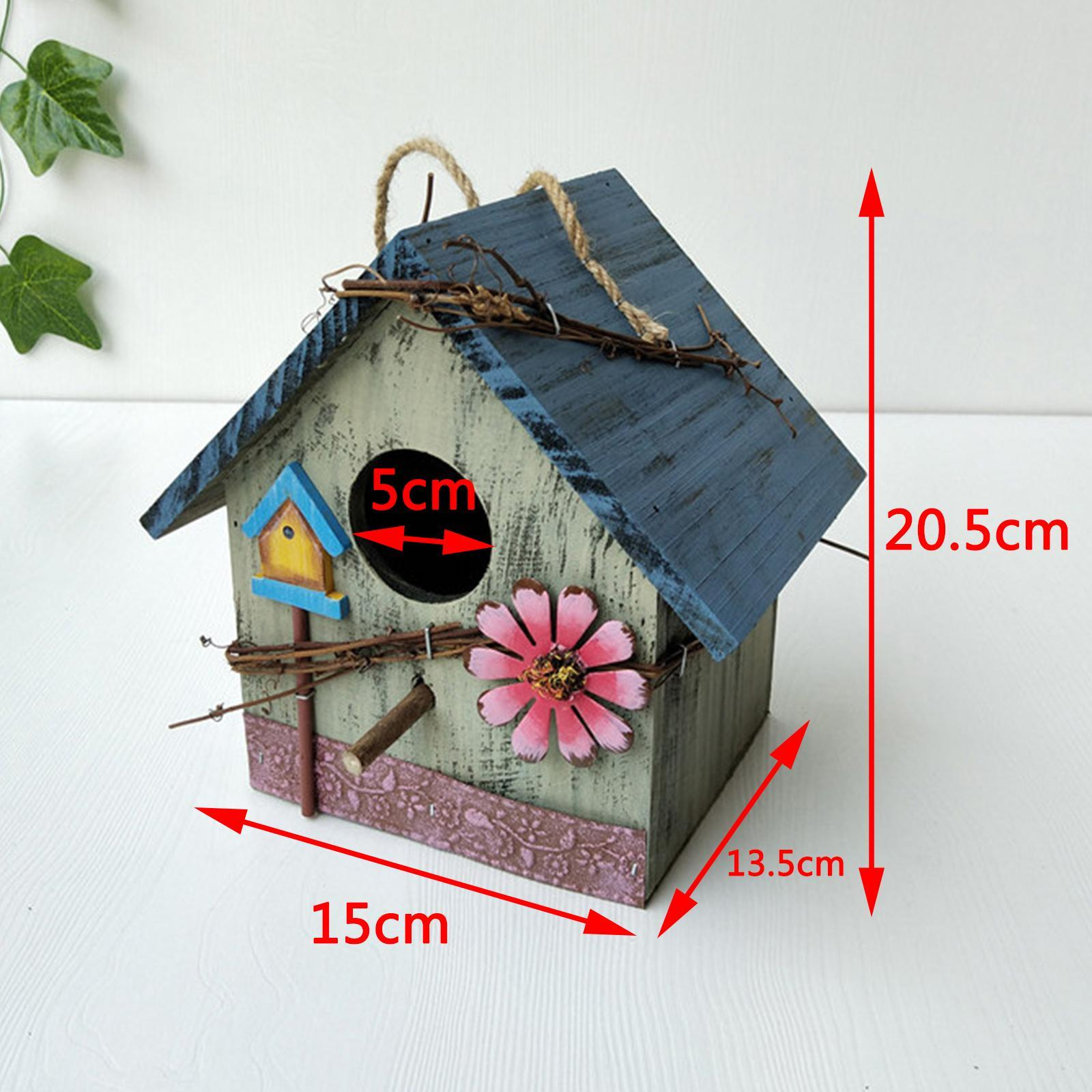 thumbnail 28 - Antique Hand Painted Wood Birdhouse Decorative Outdoor Bird House Garden