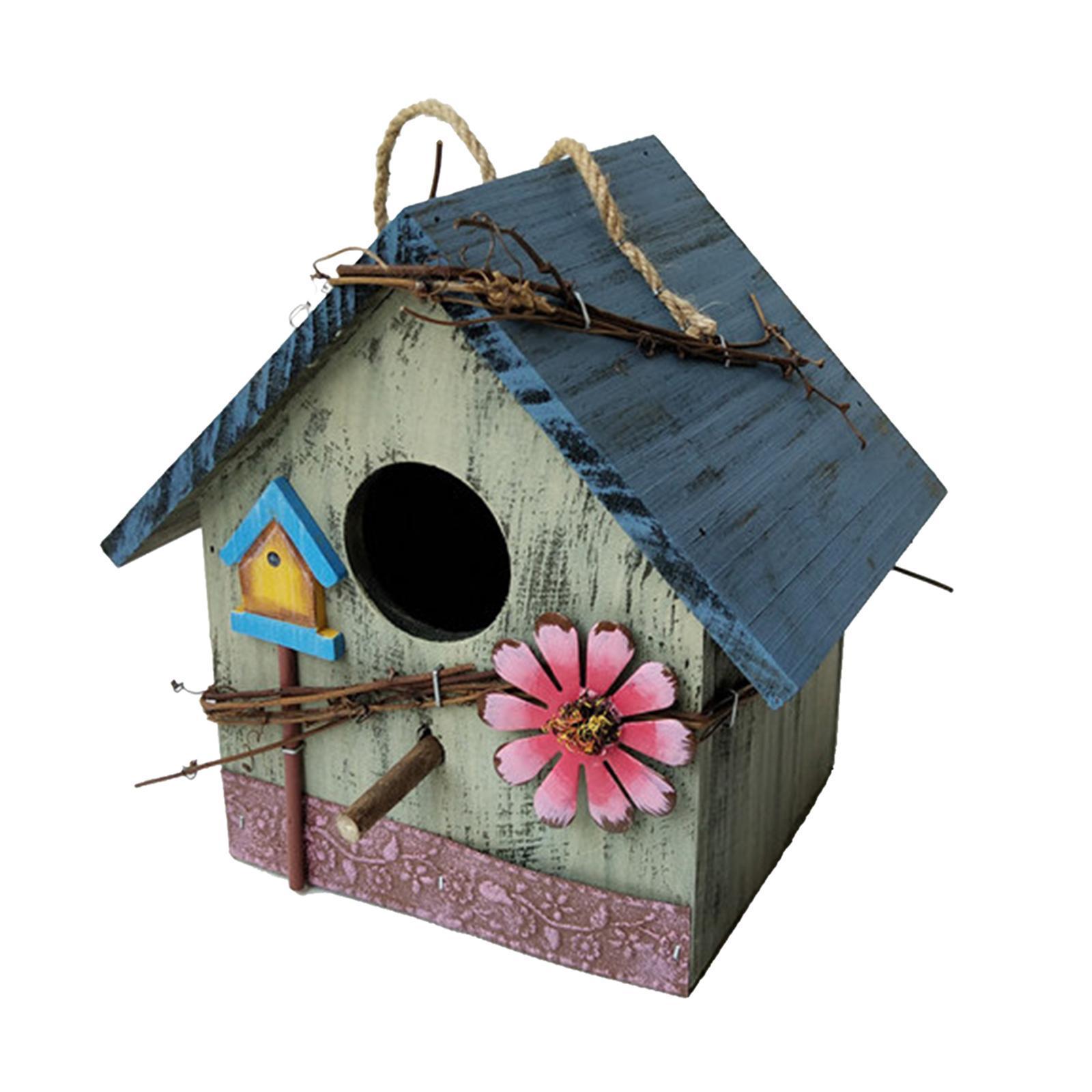 thumbnail 30 - Antique Hand Painted Wood Birdhouse Decorative Outdoor Bird House Garden
