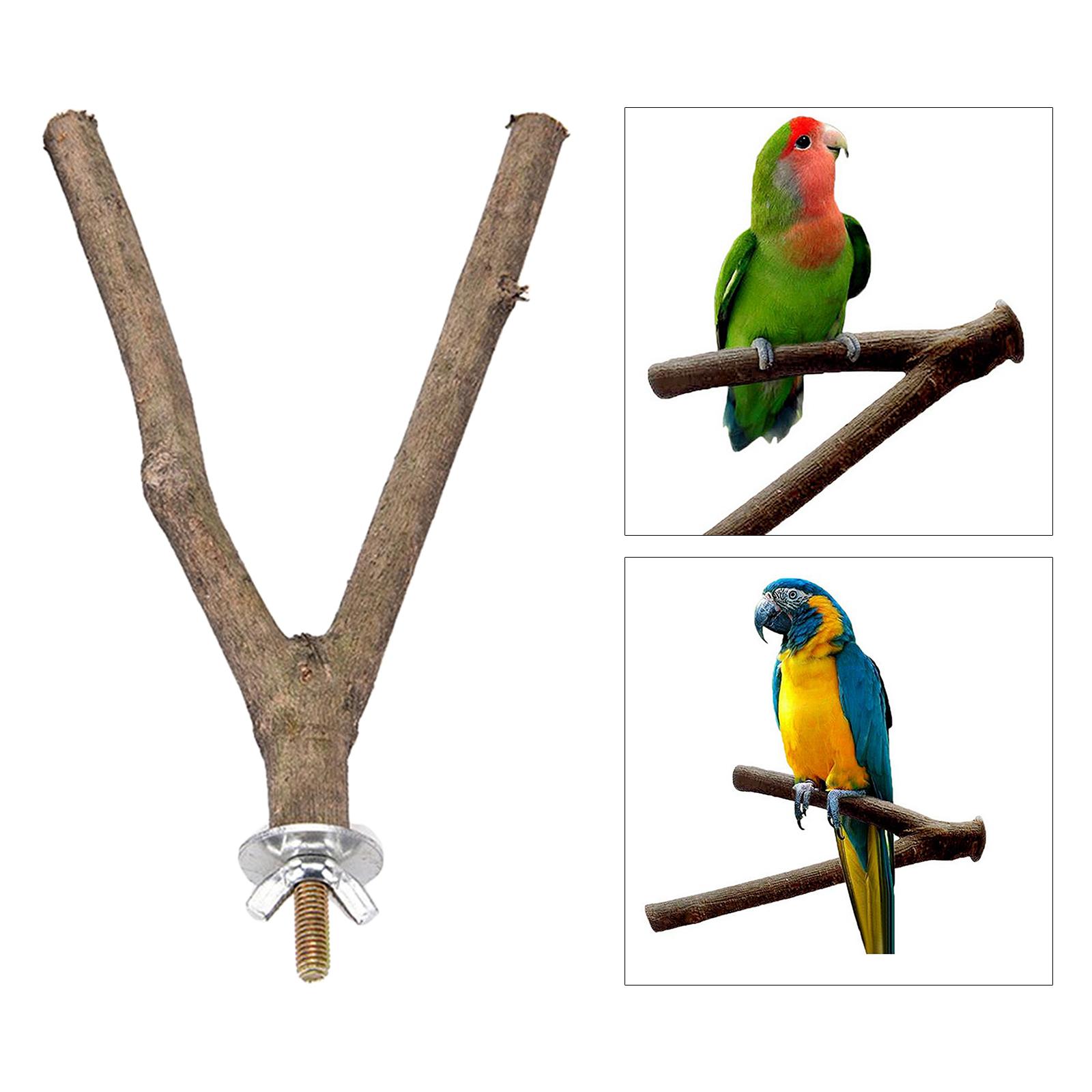 thumbnail 4 - Bird-Perch-Wood-Stand-Bird-Cage-Swing-Branch-for-Parrot-Parakeet-Cockatiel