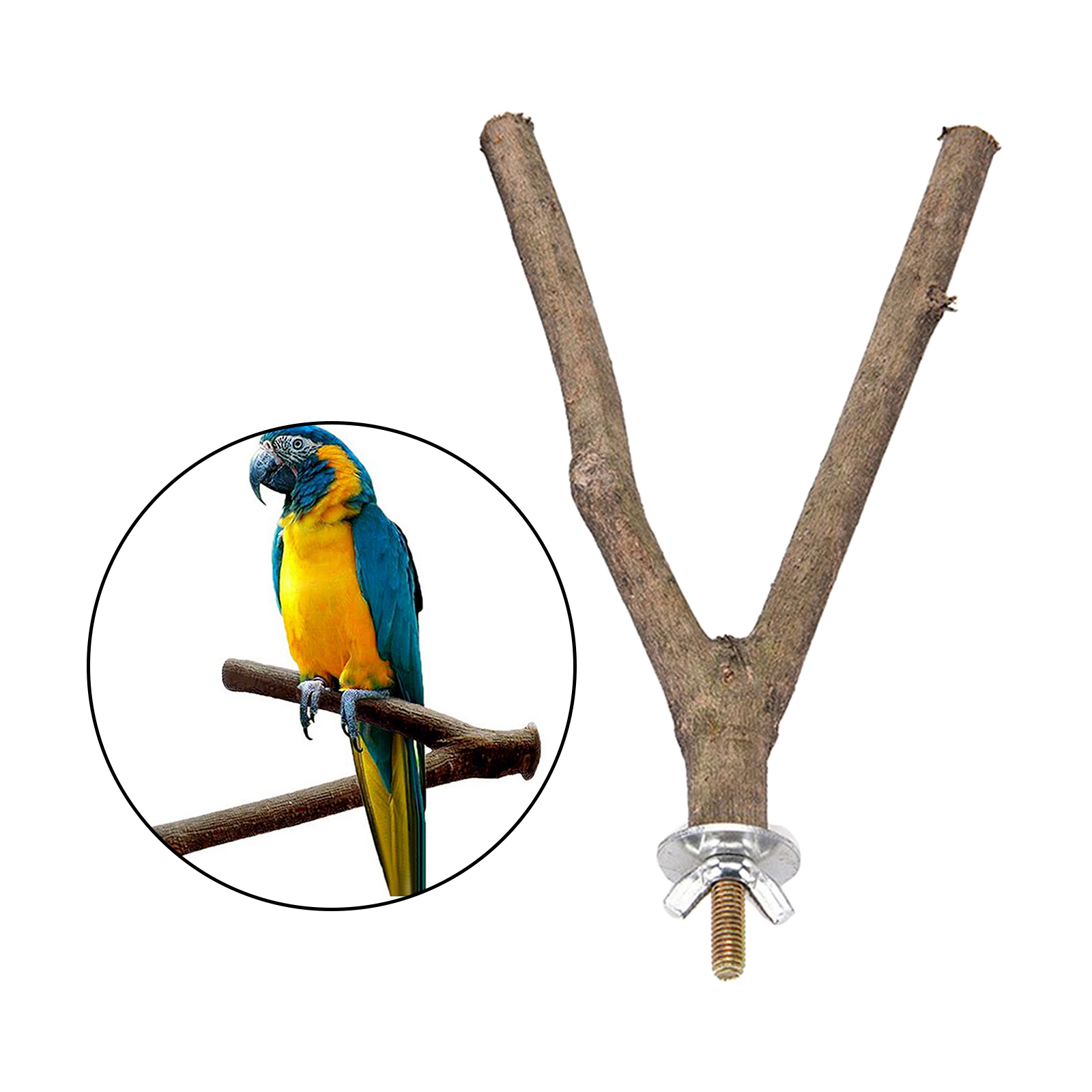 thumbnail 8 - Bird-Perch-Wood-Stand-Bird-Cage-Swing-Branch-for-Parrot-Parakeet-Cockatiel