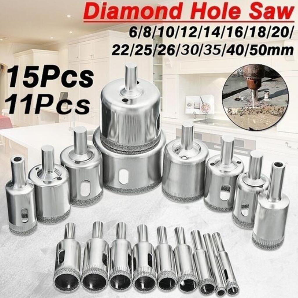 miniature 6 - 6-50MM diamant foret trou scie ensemble pour céramique porcelaine salle de bain