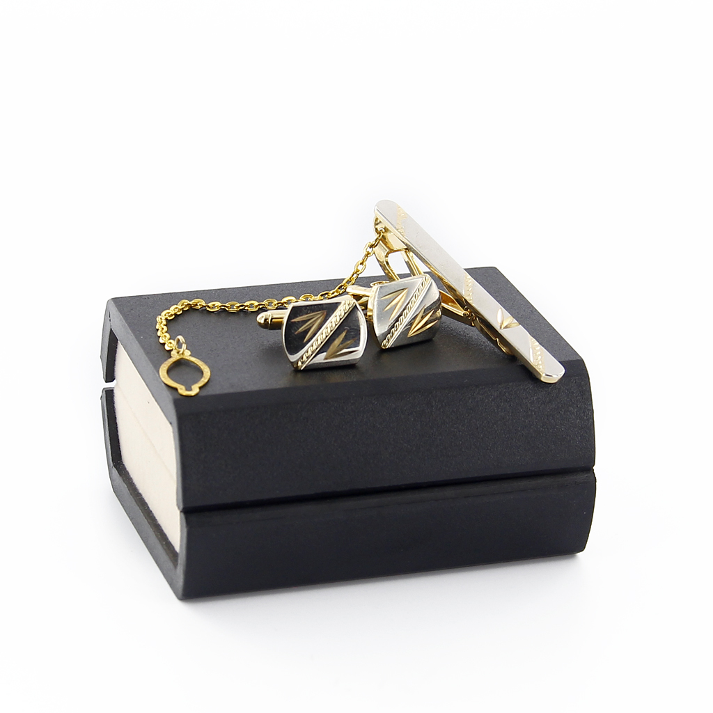 Gold-Cufflinks-Tie-Clasp-Clip-Clasp-Bar-Pin-with-Matching-Box-Case-Men-039-s-Gift thumbnail 8