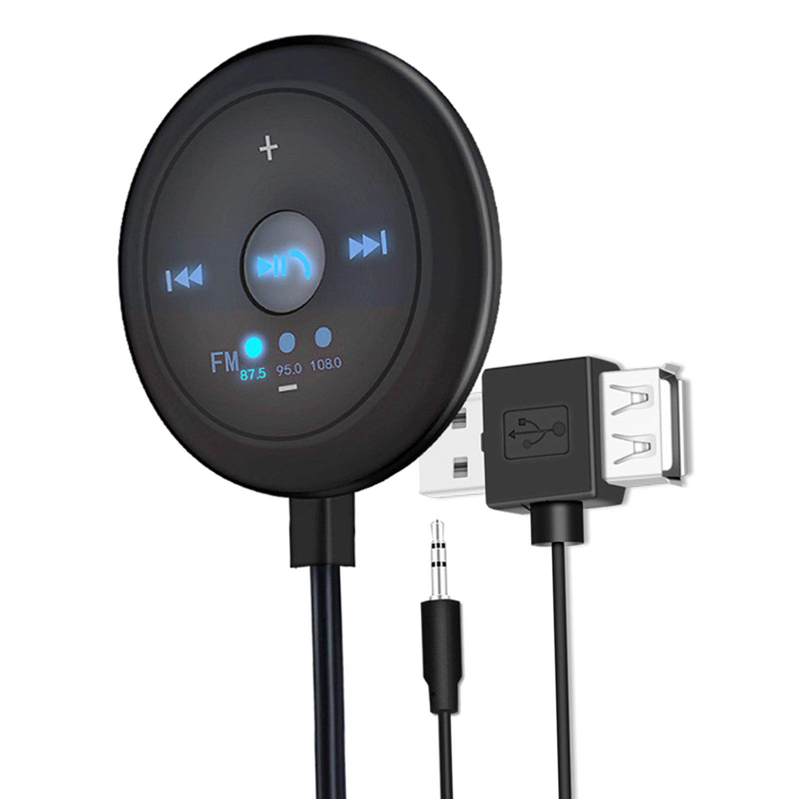 Indexbild 2 - AUX Audio Adapter 2 in 1 FM Transmitter Basis Eingebaute Mic 5x5x1,7 cm für