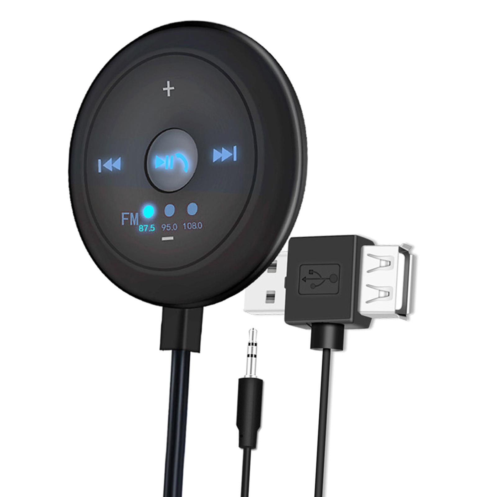 Indexbild 8 - AUX Audio Adapter 2 in 1 FM Transmitter Basis Eingebaute Mic 5x5x1,7 cm für