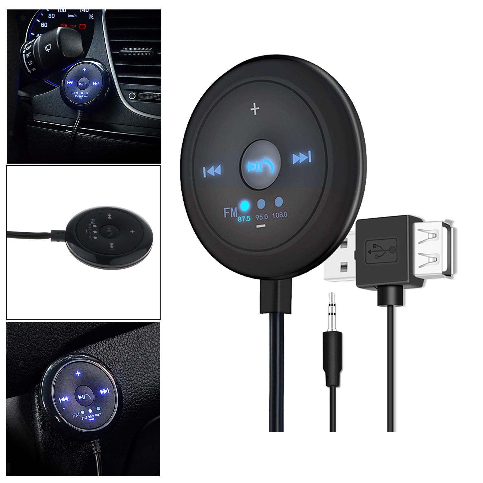 Indexbild 6 - AUX Audio Adapter 2 in 1 FM Transmitter Basis Eingebaute Mic 5x5x1,7 cm für