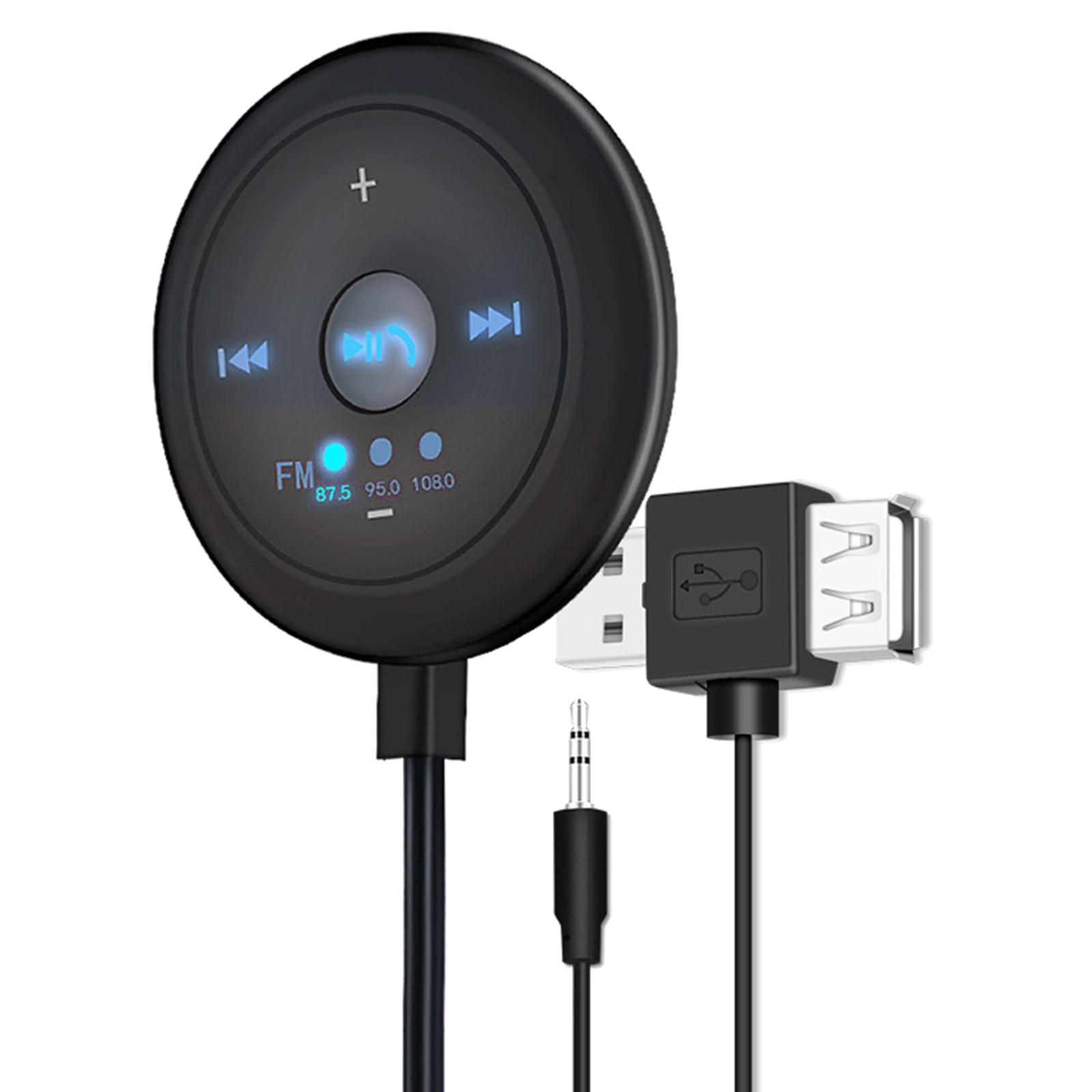 Indexbild 10 - AUX Audio Adapter 2 in 1 FM Transmitter Basis Eingebaute Mic 5x5x1,7 cm für