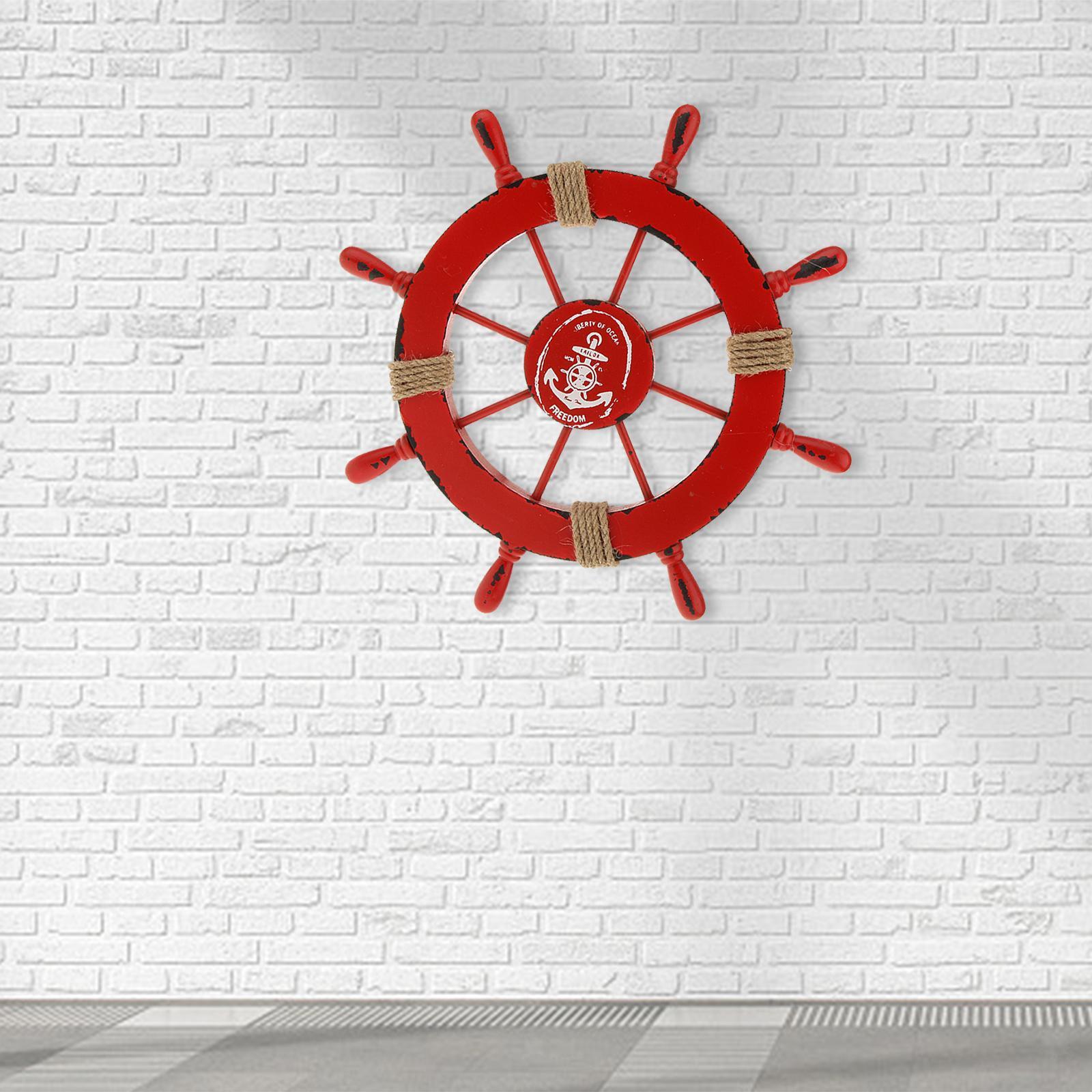 Nautical-Beach-Wooden-Boat-Ship-Wheel-Home-Bar-Wall-Party-Hanging-Decoration thumbnail 16