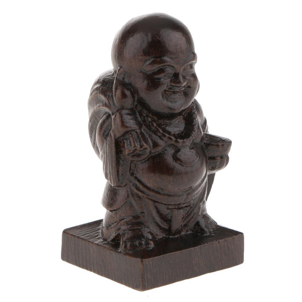 miniatura 6 - Statuetta buddista in legno Figurina India Buddha Head Statue Craft Ornament