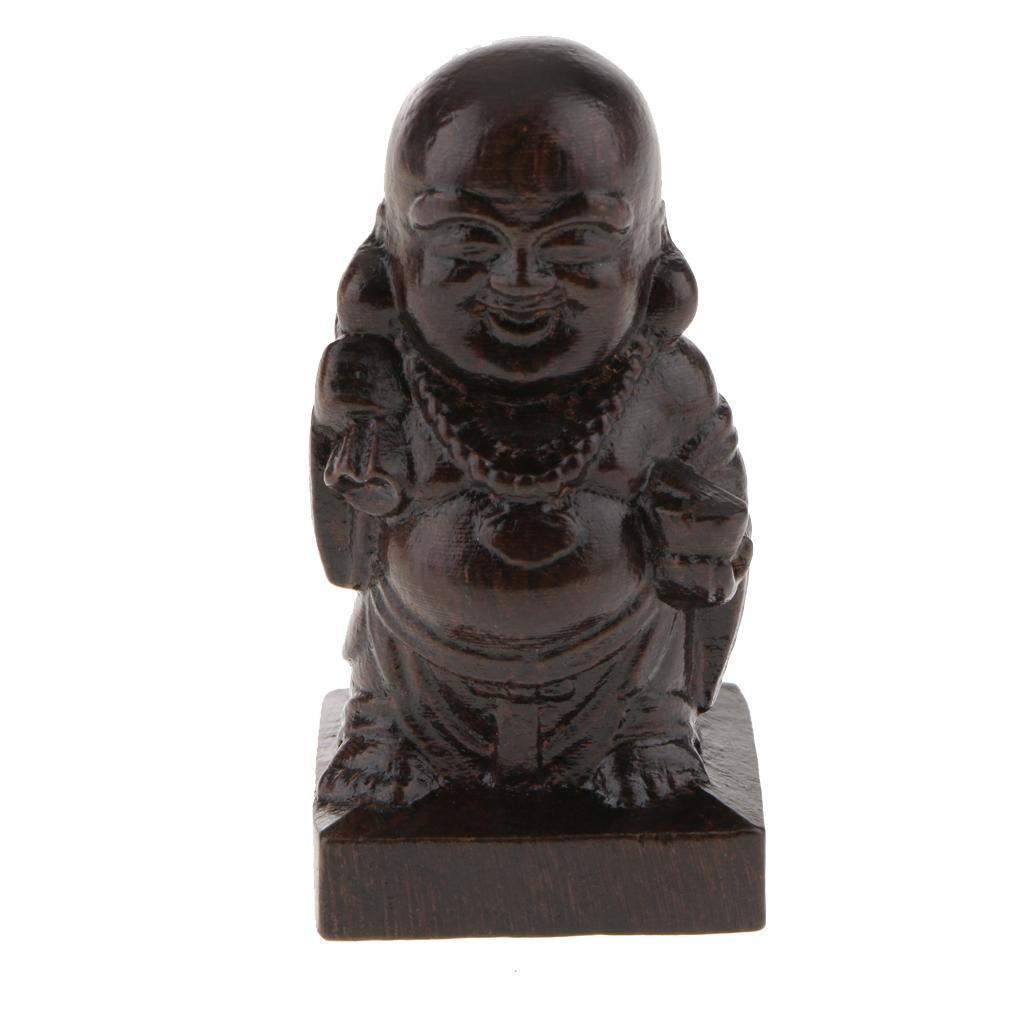 miniatura 7 - Statuetta buddista in legno Figurina India Buddha Head Statue Craft Ornament
