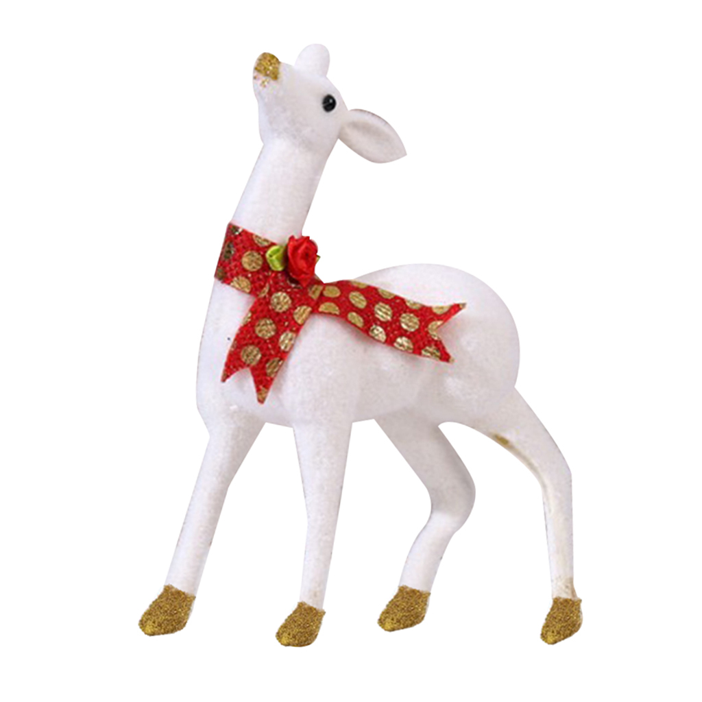 Christmas Statue Decorations: Cute Christmas Resin Reindeer Statue Office Decor Small