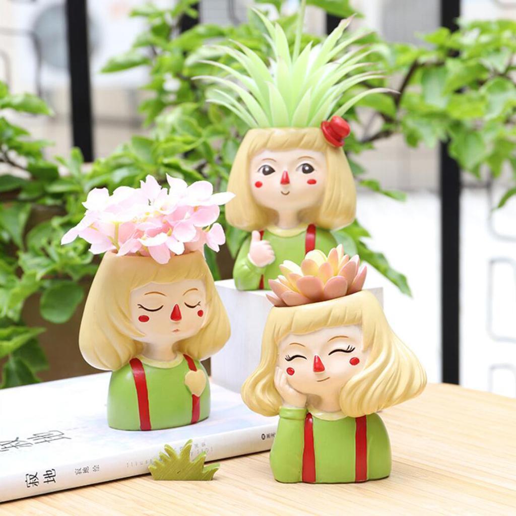 Thinking Girl Flower Vase Planter Succulent Pot Resin Home