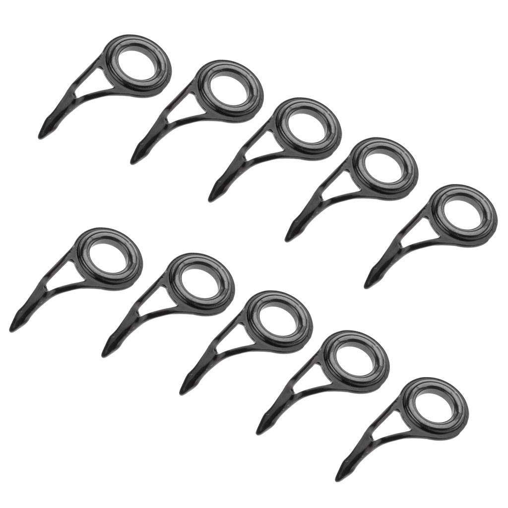 miniatura 3 - 10-pezzi-in-acciaio-inox-per-canne-da-pesca-Guide-Tip-Kit-di-riparazione