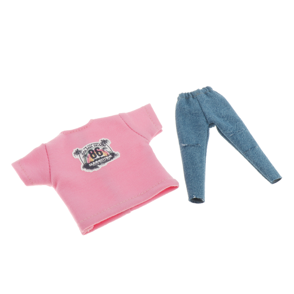 Fashion Doll Clothes For Blythe Doll Suspender Trousers T-Shirt 1:6 Jeans Pants