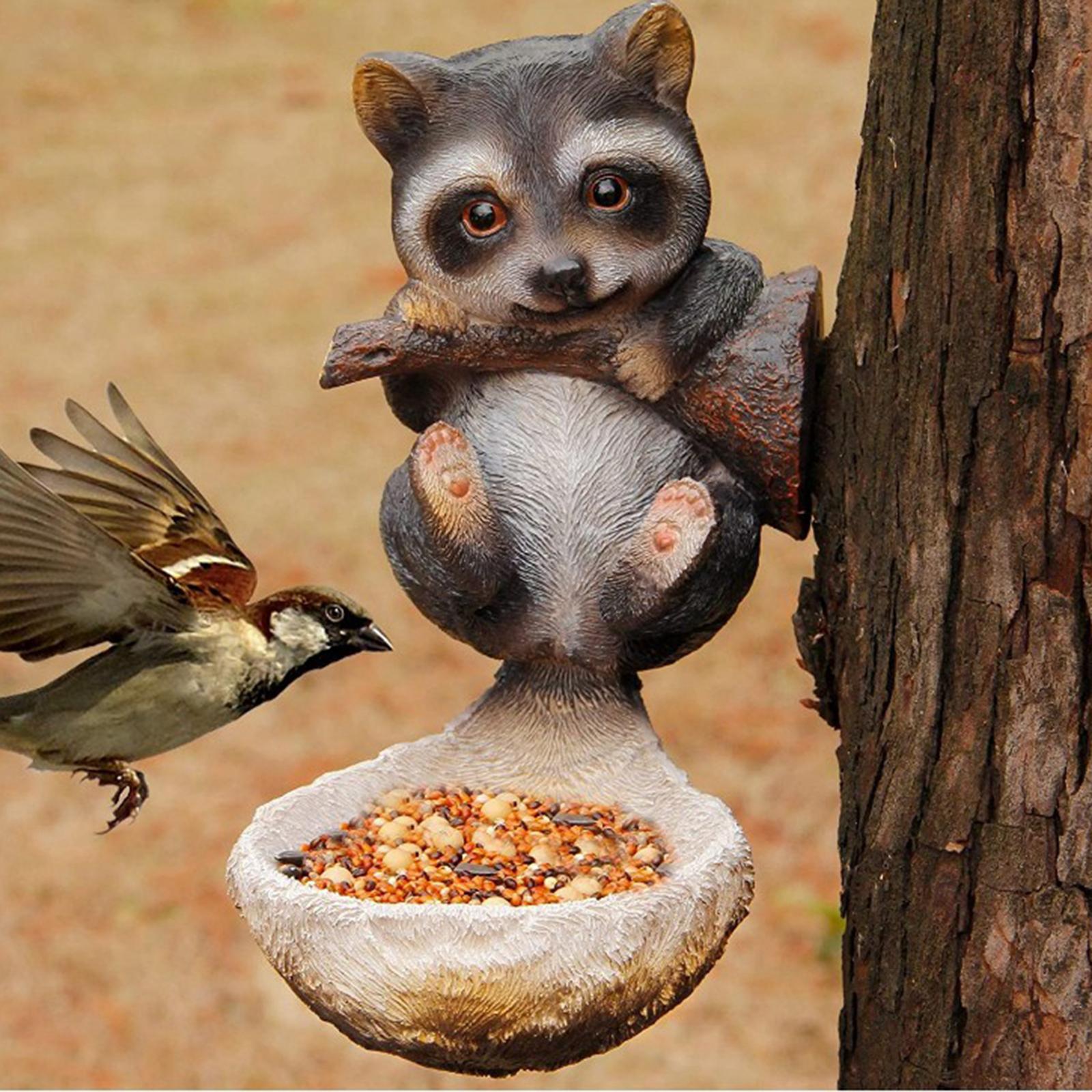 thumbnail 11 - Animal Sculpture Bird Feeder Home Outdoor Tree Decor Bird Feeding Tray