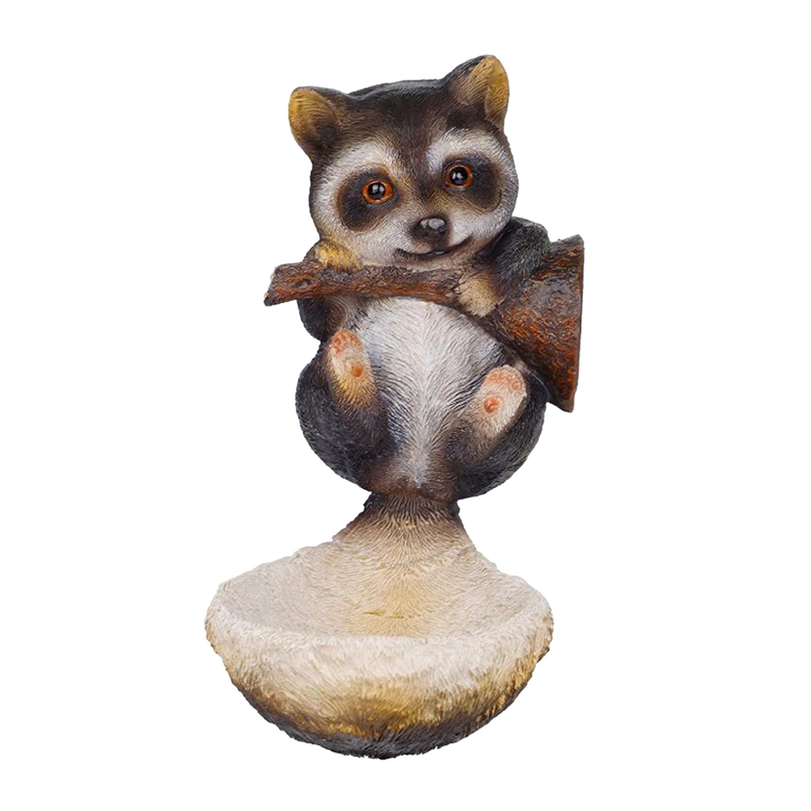 thumbnail 4 - Mignon Animal Sculpture Mangeoire à Oiseaux Ornement Arbre Statue Oiseau