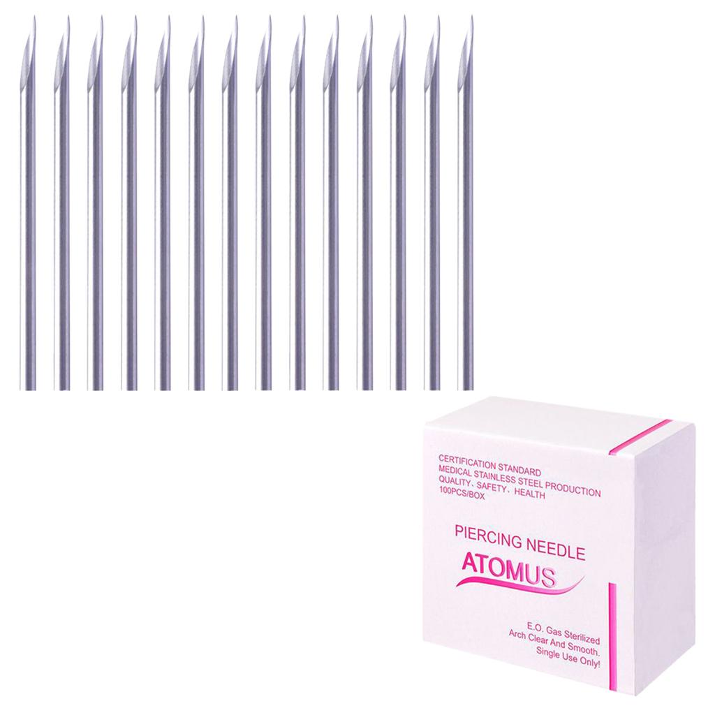 miniatura 6 - Aghi-piercing-sterilizzati-100piece-per-il-naso-dell-039-ombelico-del-corpo