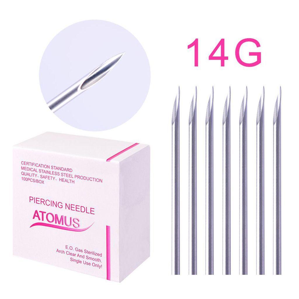 miniatura 6 - Aghi piercing sterilizzati 100piece per il naso dell'ombelico del corpo -