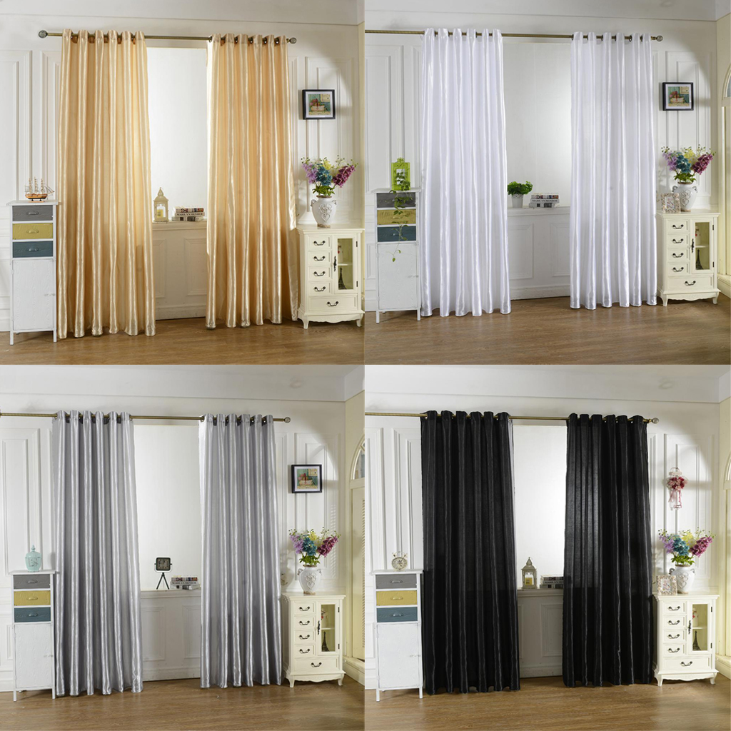Faux Silk Curtains Sheer Valance Window Blind For Living Room Bedroom Decoration Ebay