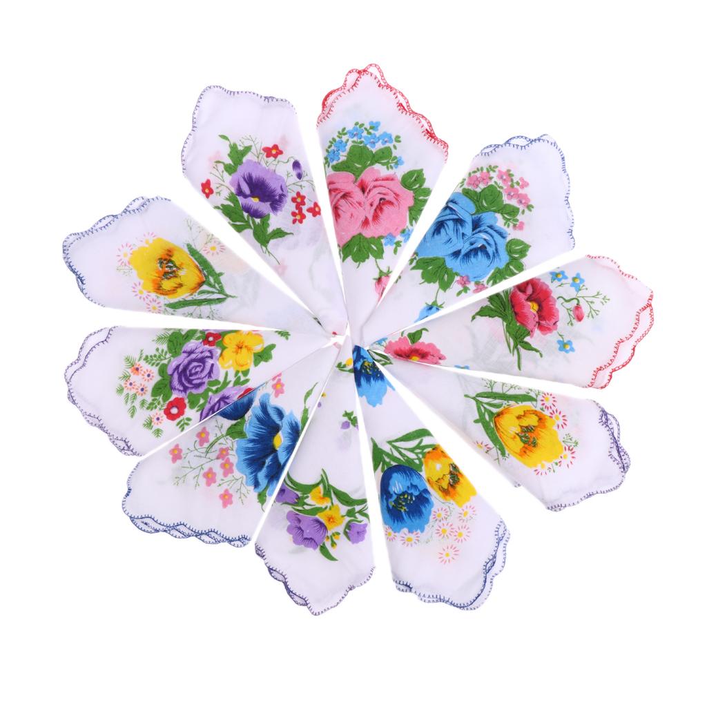 10x frontera ondulado algodón cuadrado pañuelo flores pañuelo fiesta