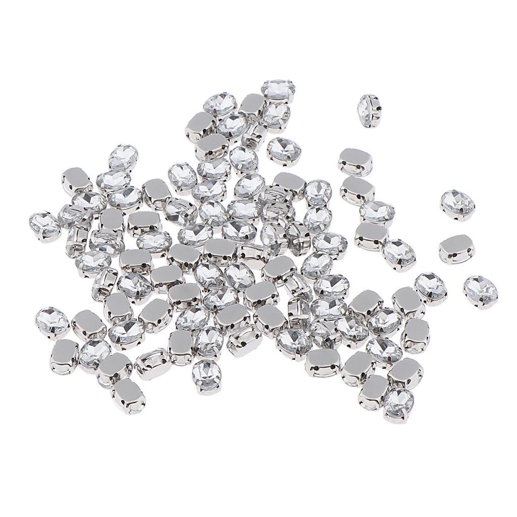 100 pieces sew on crystals rhinestone beads ornament DIY craft 6x8mm