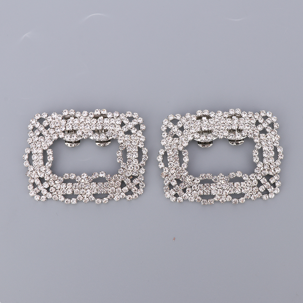 2x Crystal Sparkle Square Shoe Clips Wedding Bridal Accessories for Women