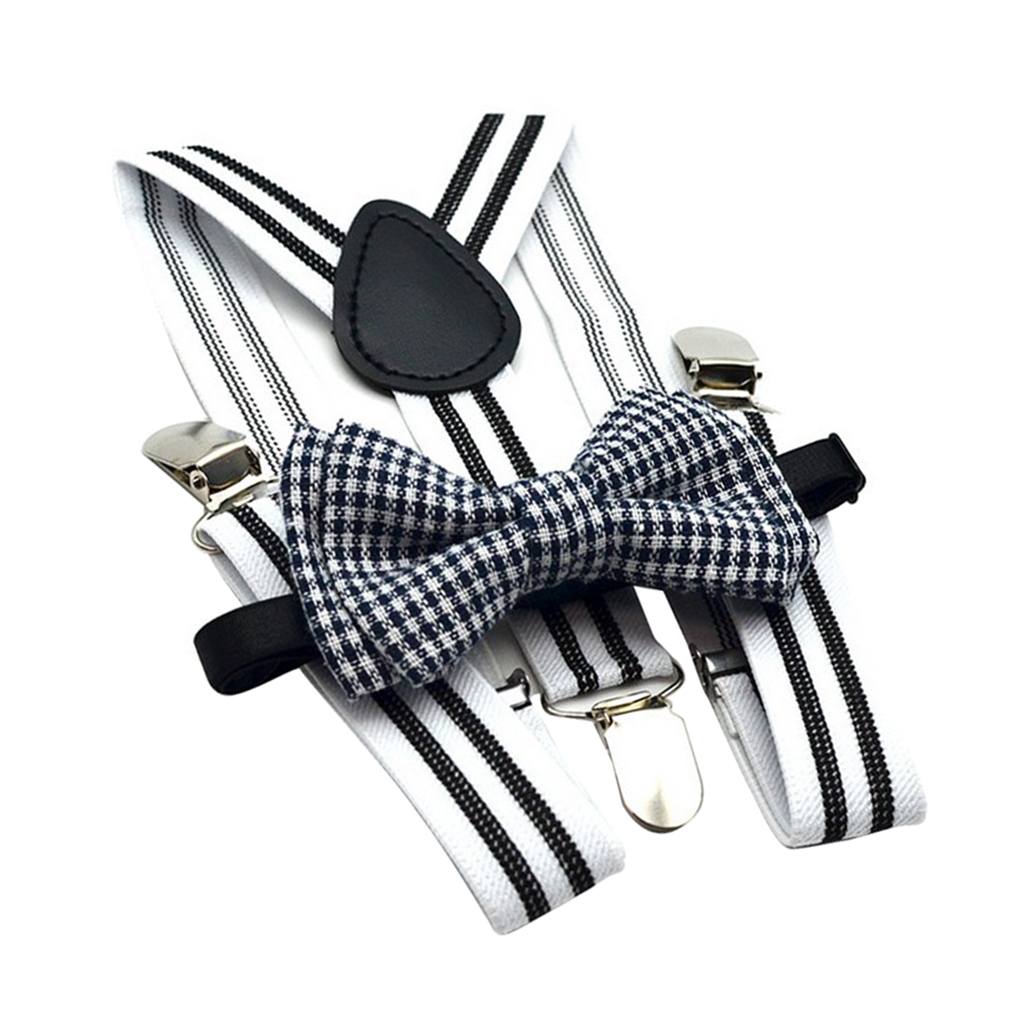 Male Boys Clip-on Suspenders with Bow-Tie Set 3 Clips Y-Shape Braces Straps