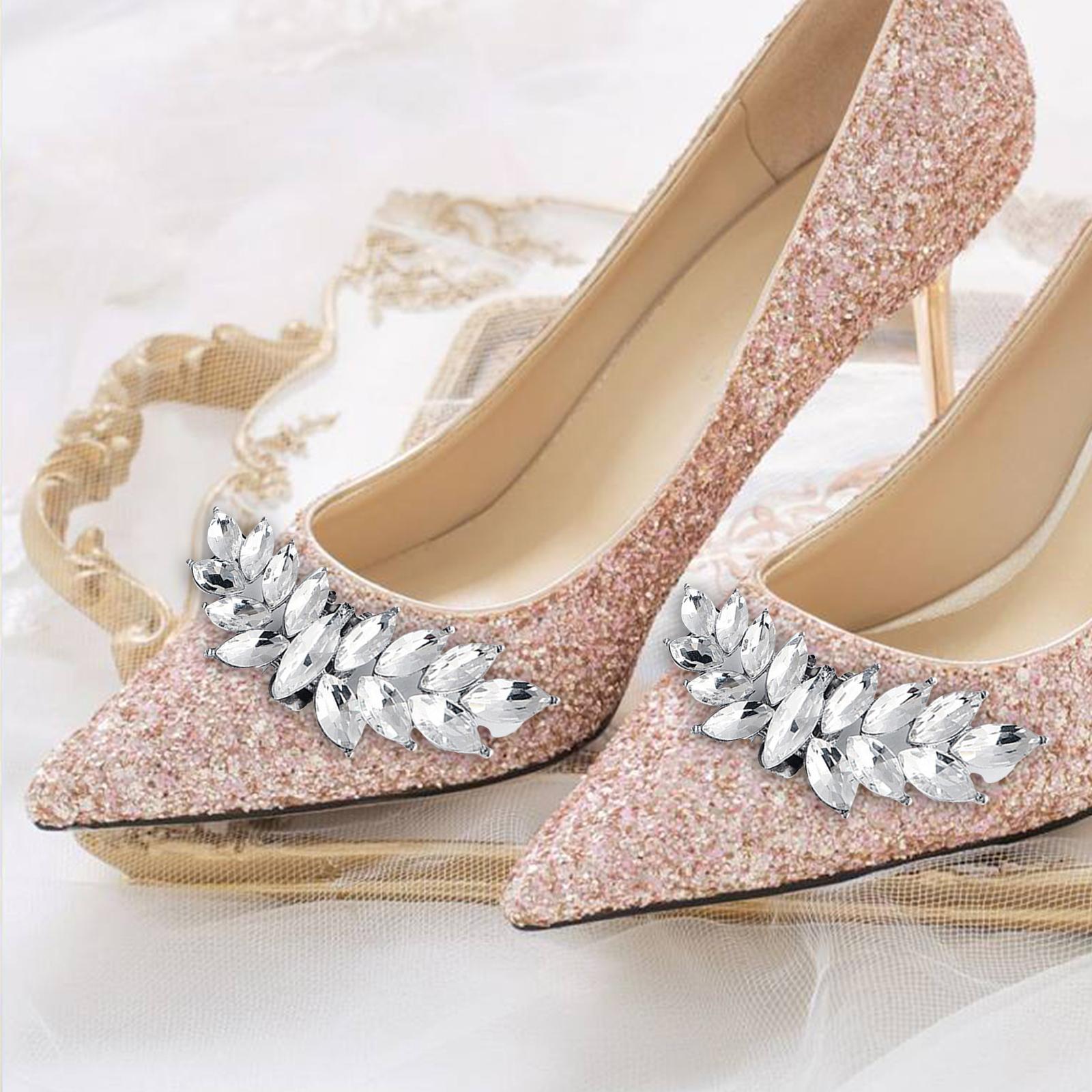 Rhinestone Bridal Shoe Clips Applique Patch Glittering Shoe Buckle Embellishment