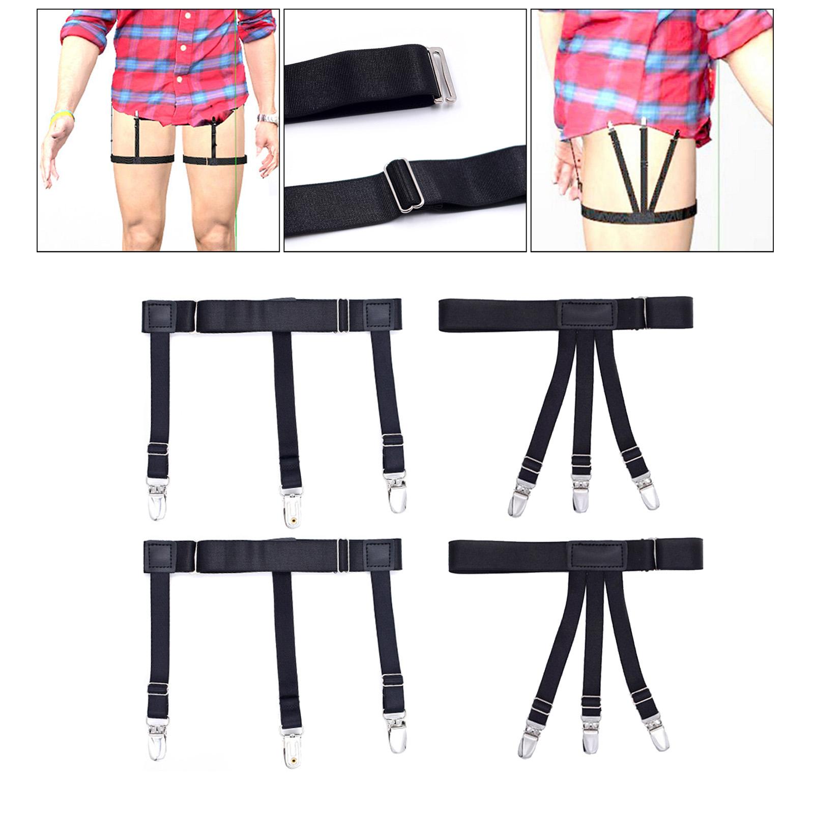 2x Shirt Stays Leg Garter Thigh Suspender Holders Non-Slip Clamps Military