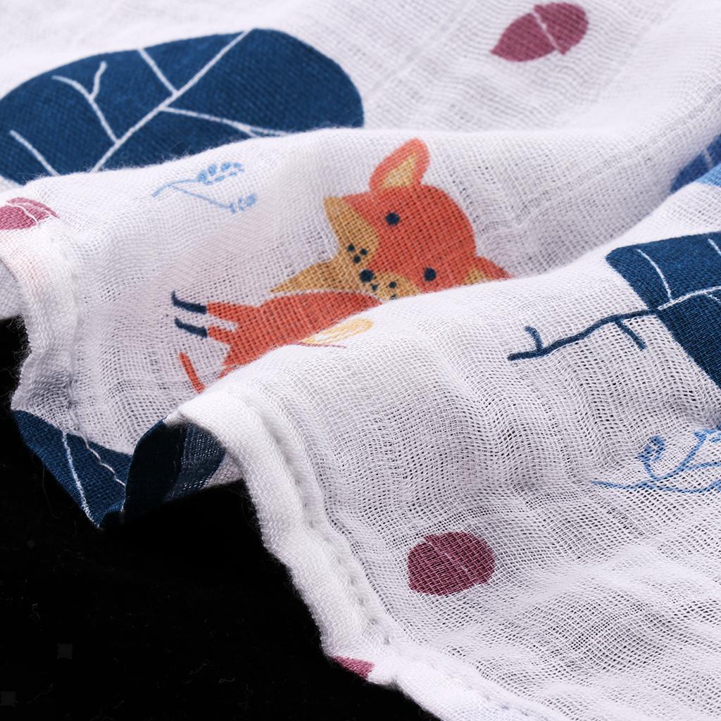 Babywickeldecken-Tiere-Drucken-Kinderwagen-Kinderbett-Baumwolle-Musselin Indexbild 3