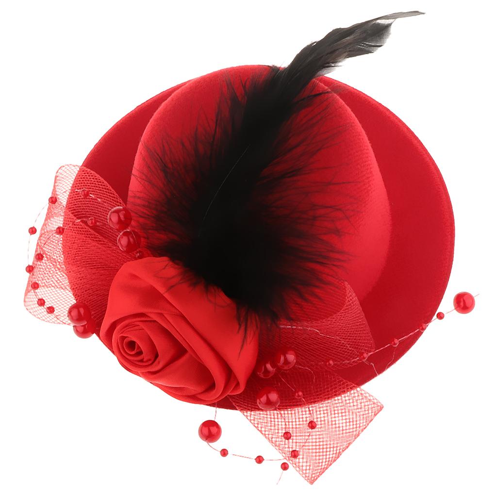 Kid-Girl-Flower-Hair-Clip-Veil-Feather-Mini-Top-Hat-Fascinator-Fancy-Party-Dress thumbnail 7