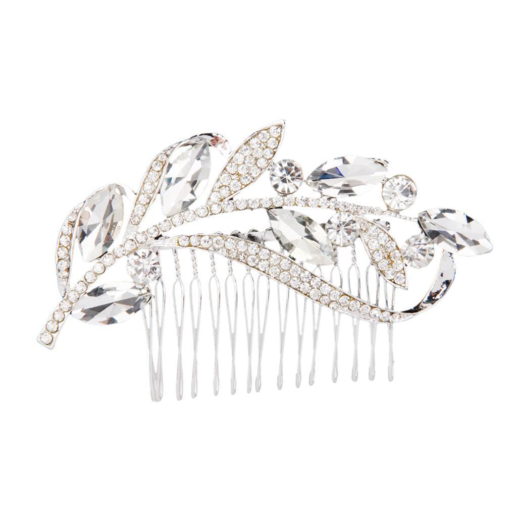 Wedding-Party-Flower-Crystal-Rhinestone-Bridal-Hair-Comb-Clip-Hair-Accessory thumbnail 11