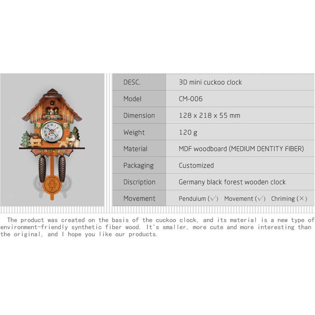 thumbnail 9 - Retro Vintage Style Wall Clock Hanging Handcraft Wooden Cuckoo Clock