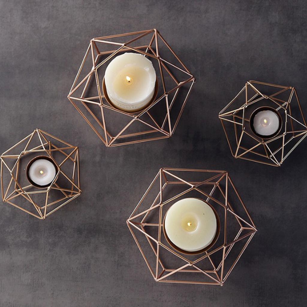 Geometric Candle Holder Iron Wire Hollowed Tea Light Holder Christmas Decor